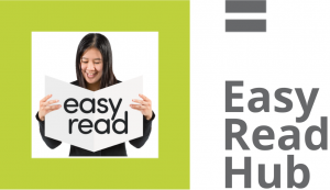 Easy Read Hub logo, a green square with an easy read image in the middle of the square with text Easy Read Hub