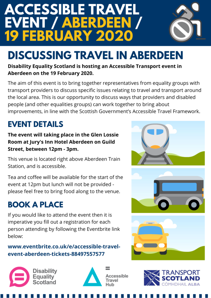 Poster promoting Aberdeen Accessible Travel Event
