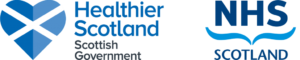 Healthier Scotland logo with a Scottish Flag featured in a heart shape. NHS Scotland logo.