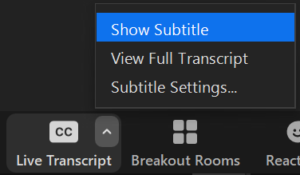Screenshot which highlights how to activate live transcript. If you are in the meeting, you can enable live captioning by clicking on the box called 'CC: Live Transcript', and clicking 'Show Subtitle'. You can disable this at any time.